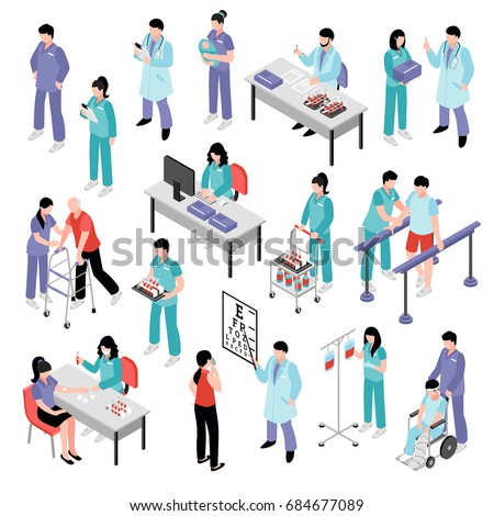 Doctors physicians nurses physiotherapist and laboratory assistent attending patients in hospital isometric icons collection isolated vector illustration