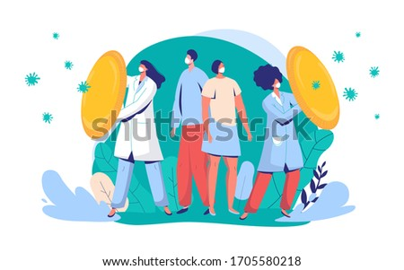 Doctors protect citizens from virus vector illustration. People and physician character wearing face mask fight against covid-19, medical worker with shield, front line for coronavirus. Photo stock ©