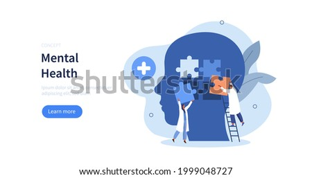 Doctors psychologist helping patient with psychological problem. Therapy against mental diseases. Mental health problem and treatment.  Mental disorder concept. Flat cartoon vector illustration.