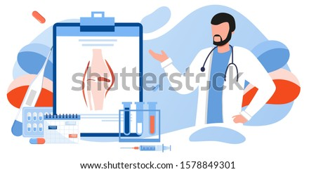 Doctors research human bones, joints. Joint knee part pain. Human anatomy healthcare medical concept. World arthritis day in October, Osteoporosis banner. Orthopedics doctor. For landing page, banner