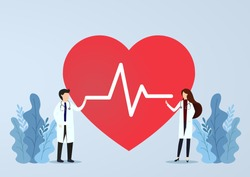 Doctors standing next to heart with EKG waves. Doctor with heartbeat rate. Health concept. Vector, illustration, esp, Flat Design.