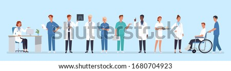 Doctors team. Medical staff doctor and nurse, group of medics. Hospital communication. Vector illustration in a flat style