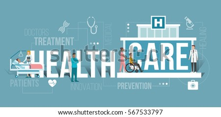 Doctors working at the hospital and patients being assisted by medical professionals: healthcare and clinics concept with words and icons