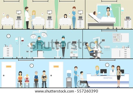 doctors working in the hospital interior set