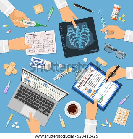 Doctors workplace concept with flat icons hands holds x-ray, medical record, cardiogram, syringe. isolated vector illustration