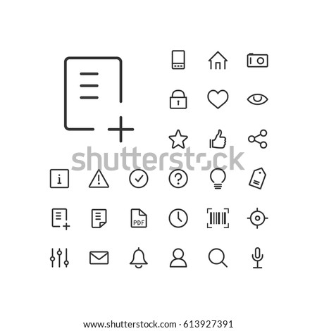 Document add icon in set on the white background. Universal linear icons to use in web and mobile app.