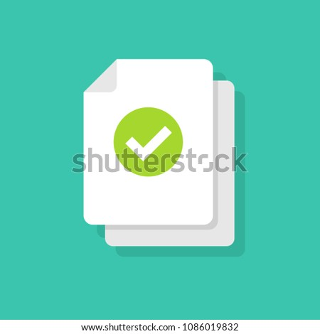 Document and checkmark vector icon Concept or correct form or agreement symbol. Flat cartoon paper doc page with approved tick sign, folded sheet with success or passed verification data.