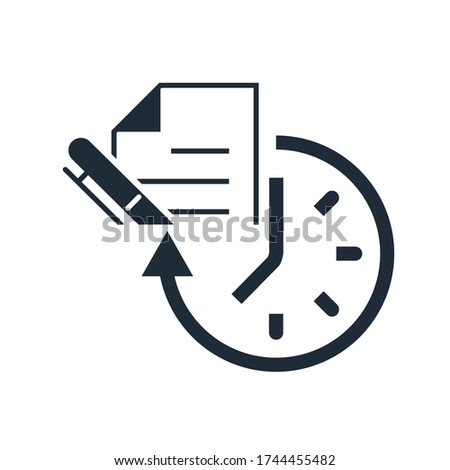 Document and clock. The duration of the contract. Vector icon isolated on white background. Foto stock ©
