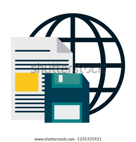 document and diskette over global sphere