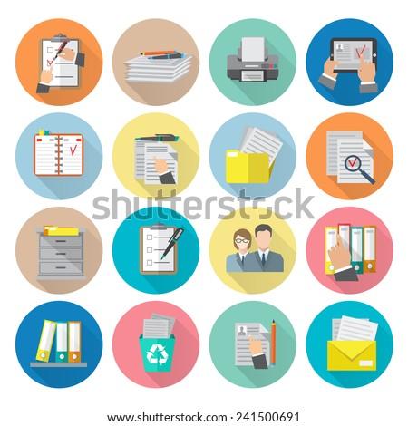 Document archive catalog management documentation organizing icon flat set isolated vector illustration