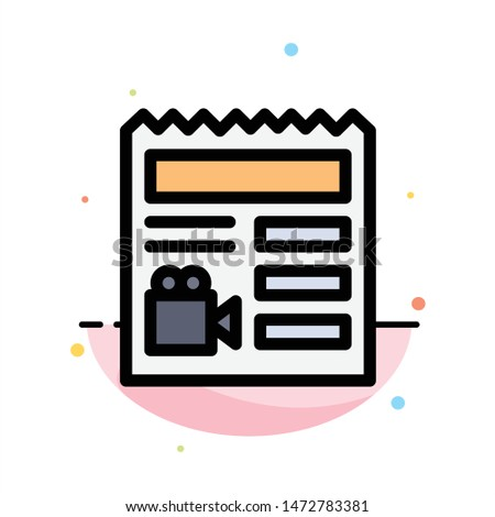 Document, Basic, Video, Camera Abstract Flat Color Icon Template