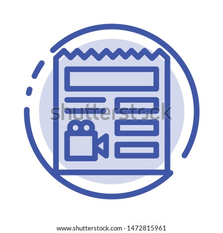 Document, Basic, Video, Camera Blue Dotted Line Line Icon