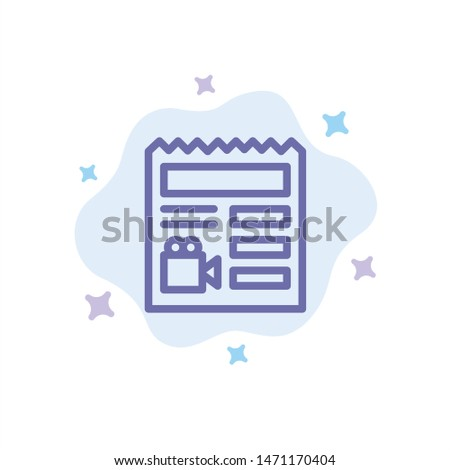 Document, Basic, Video, Camera Blue Icon on Abstract Cloud Background. Vector Icon Template background