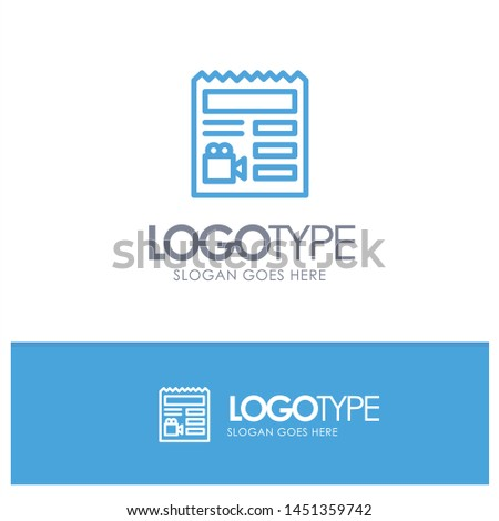 Document, Basic, Video, Camera Blue outLine Logo with place for tagline