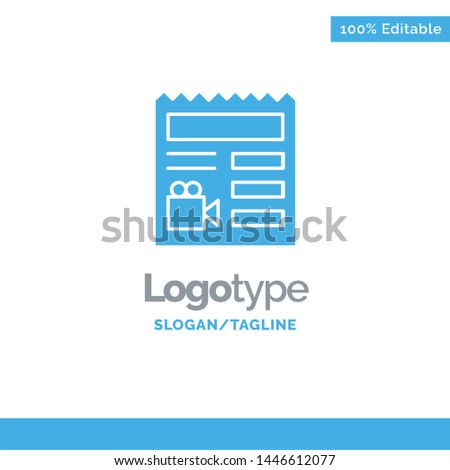 Document, Basic, Video, Camera Blue Solid Logo Template. Place for Tagline