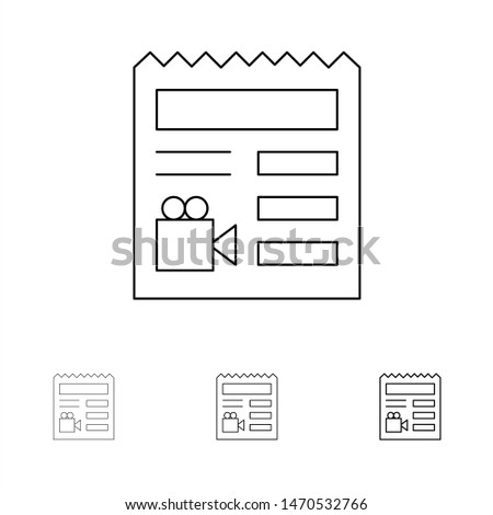 Document, Basic, Video, Camera Bold and thin black line icon set. Vector Icon Template background