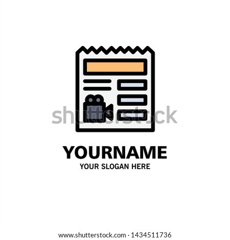 Document, Basic, Video, Camera Business Logo Template. Flat Color