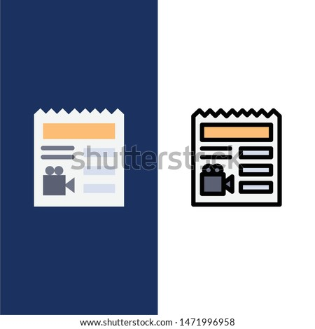 Document, Basic, Video, Camera  Icons. Flat and Line Filled Icon Set Vector Blue Background