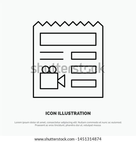 Document, Basic, Video, Camera Line Icon Vector
