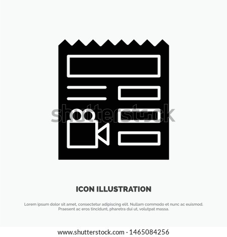 Document, Basic, Video, Camera solid Glyph Icon vector. Vector Icon Template background