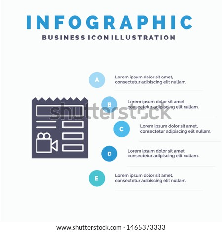 Document, Basic, Video, Camera Solid Icon Infographics 5 Steps Presentation Background. Vector Icon Template background