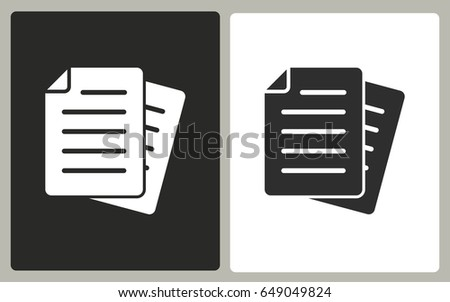 Document - black and white vector icons. Illustration isolated for graphic and web design.