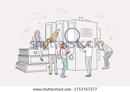 Document, business, accounting, search, teamwork concept. Team of businessmen women coworkers clerks managers accountants cartoon characters searching book documentation and specification requirements