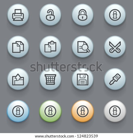Document contour icons with color buttons on gray background.