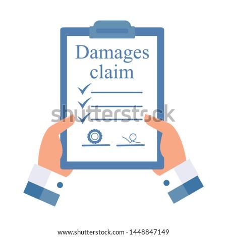 Document Damages claim.Flat design, white background.