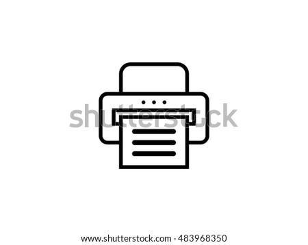 Document desktop printer line art icon