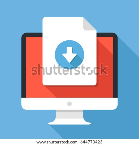 Document download button on computer screen. Document icon and desktop PC. Downloading files concepts, graphic elements for web banners, web sites, infographics. Modern flat design vector illustration