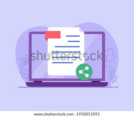 Document, file. Concept of sharing file, file transfer, transfer of documentation, cloud service, file management, electronic document management. Vector illustration in flat design for web page