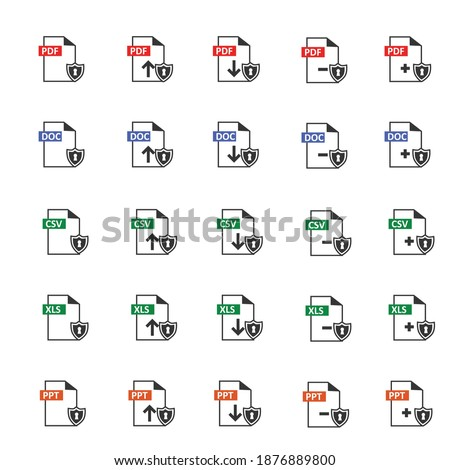 document file extensions with red labels isolated on white with encryption  or  potect by antivirus