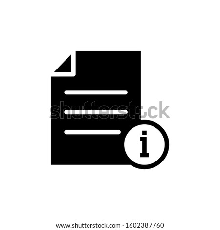 Document file info info button page icon in black flat on white background, Vector icon