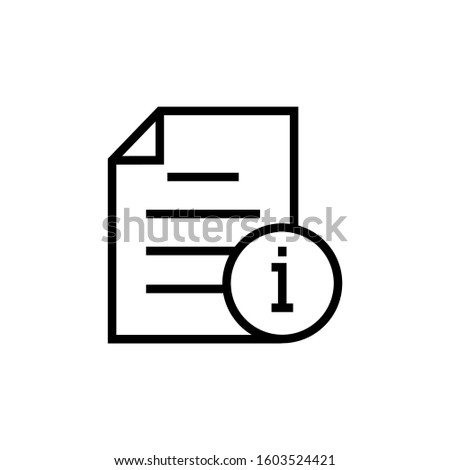 Document file info info button page icon in outline style on white background, Vector icon