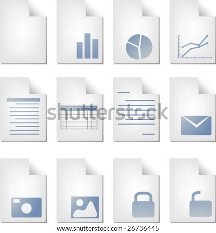 Document file types icon set clipart illustration