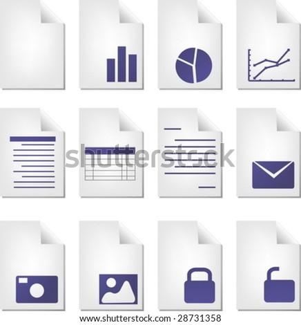 Document file types icon set clipart illustration