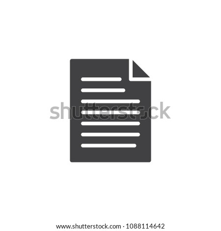Document file vector icon. filled flat sign for mobile concept and web design. Paper doc simple solid icon. Symbol, logo illustration. Pixel perfect vector graphics