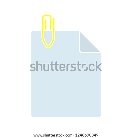document flat icon - Paper clip sign icon. Clip symbol, document attachment. office icon