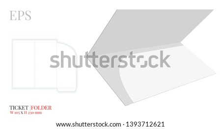 Document Folder Template, Ticket Travel Folder Envelope, Vector with die cut / laser cut layers. White, clear, blank, isolated Ticket Folder mock up on white background with perspective view
