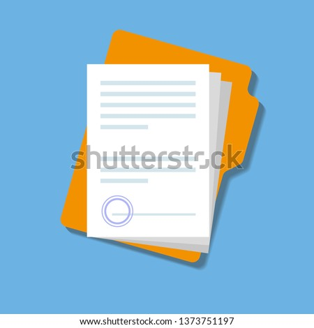 Document, folder with stamp and text. Isolated vector illustration. Folder and stack of white papers. Simple, flat design