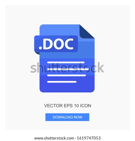 Document Formats Document .DOC With Document Sign Symbol File Blue Color Flat Icon Vector Illustration White Background