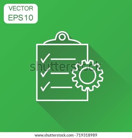 Document icon. Business concept project management pictogram. Vector illustration on green background with long shadow.