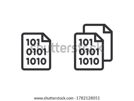 Document icon. Code icon. Office document. Programming code vector. Prepare document. Development file. Program code. Big data processing. Software development and programming. Coding icon. Data icon.