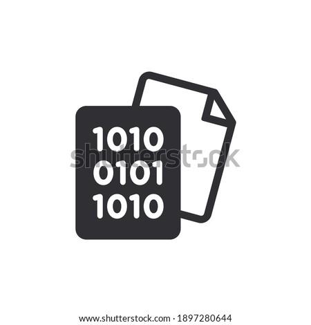 Document icon. Code icon. Office document. Programming code vector. Prepare document. Development file. Program code. Big data processing. Software development and programming. Coding icon.