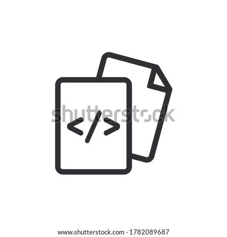 Document icon. Code icon. Office document. Progrmming code vector. Prepare document. Development file. Program code. Big data processing. Software development and programming. System file.
