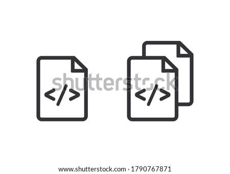 Document icon. Code icon. Office document. Progrmming code vector. Prepare document. Development file. Program code. Big data processing. Software development and programming. Copy document. System