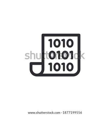 Document icon. Code icon. Office document. Progrmming code vector. Prepare document. Development file. Program code. Big data processing. Software development and programming. Start page. Coding icon.