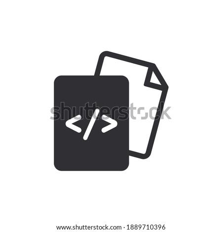 Document icon. Code icon. Office document. Progrmming code vector. Prepare document. Development file. Program code. Big data processing. Software development and programming. Copy document. Coding