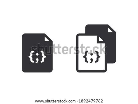 Document icon. Code icon. Office document. Progrmming code vector. Prepare document. Development file. Program code. Big data processing. Software development and programming. Start page. Web. Coding